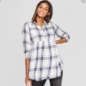 Isabel Maternity Size L Blue/White Plaid Shirt